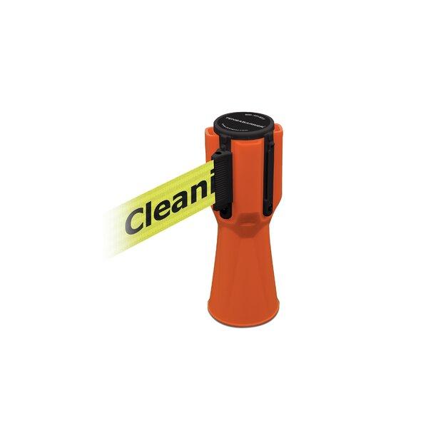 Orange Tensacone Topper with Cleaning in Progress belt by Tensator