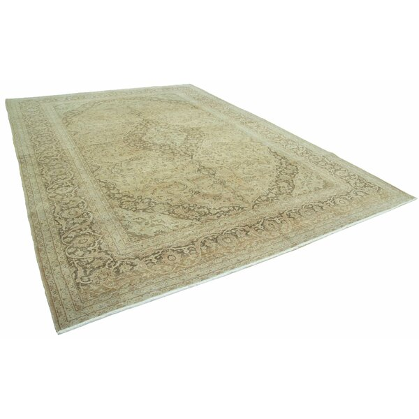 One-of-a-Kind Cathia Hand-Knotted Olive Green 10' x 14' Area Rug