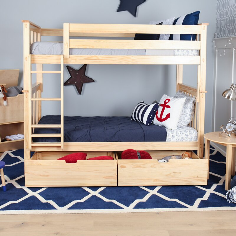 solid wood twin bunk bed with under bed storage drawer
