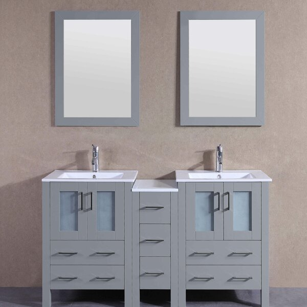 Jocelyn 61 Double Bathroom Vanity Set with Mirror by Bosconi