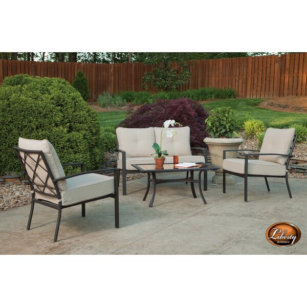 Eldert 4 Piece Sofa Seating Group with Cushions by Charlton Home