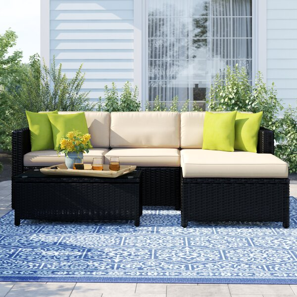 Carmelo 5 Piece Rattan Sectional Set With Cushions By Sol 72 Outdoor