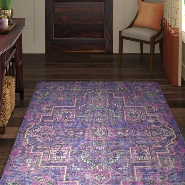 Aanya Hand-Knotted Purple Area Rug by World Menagerie