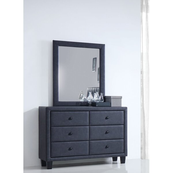 Bodnar 6 Drawer Double Dresser with Mirror by Wrought Studio
