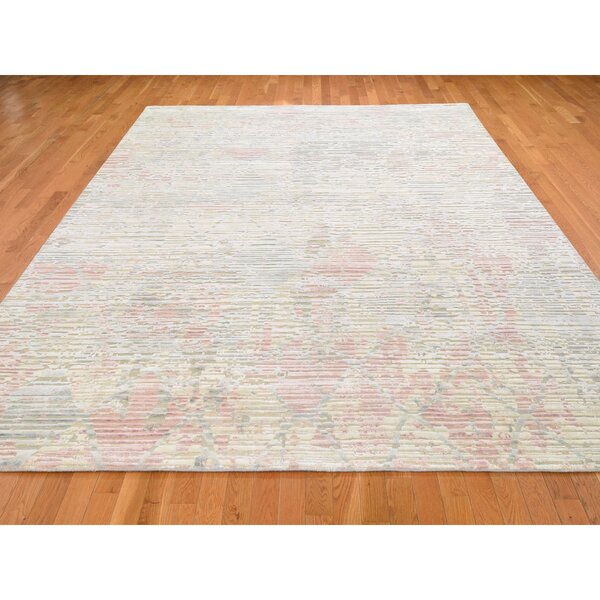 One-of-a-Kind Hand-Knotted Beige/Red 9' x 12'2 Silk Area Rug