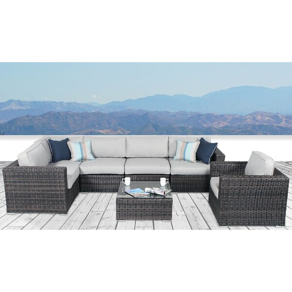 Dayne 7 Piece Rattan Sectional Seating Group with Cushions by Sol 72 Outdoor