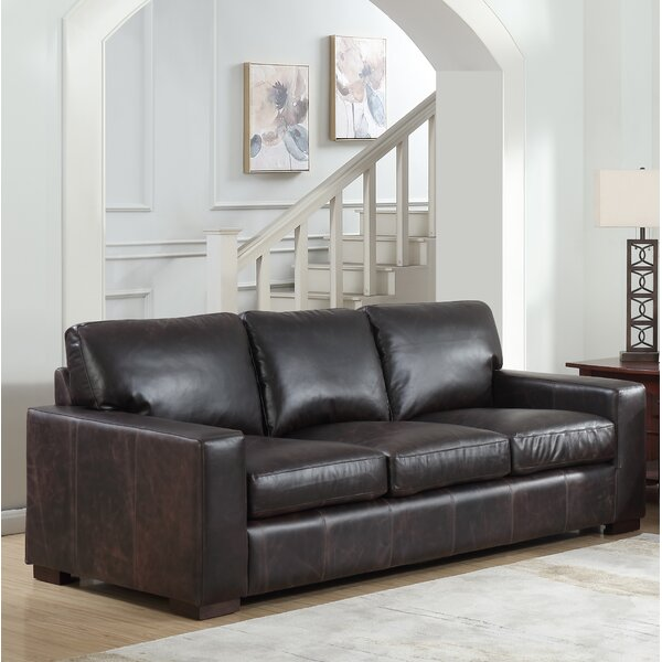 Lincolnton Leather Sofa by Three Posts