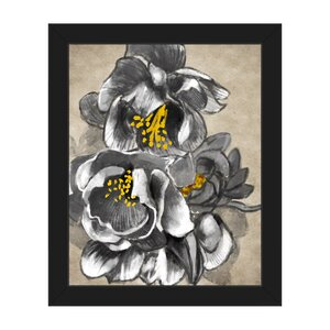 'Flowering Quince in Black and White' Framed Painting Print by Click Wall Art