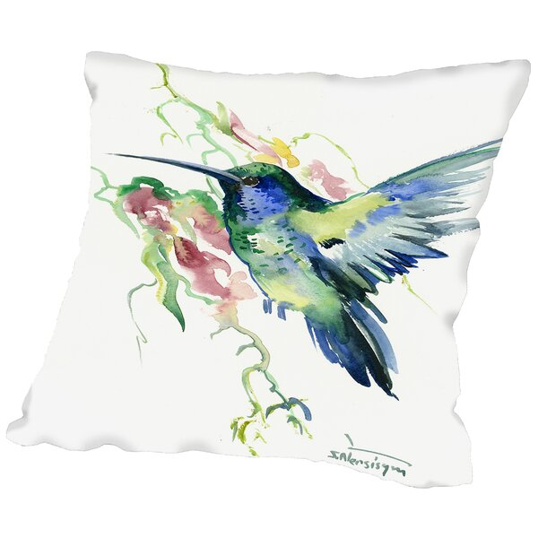 Hummibgbird Indigo Throw Pillow by East Urban Home