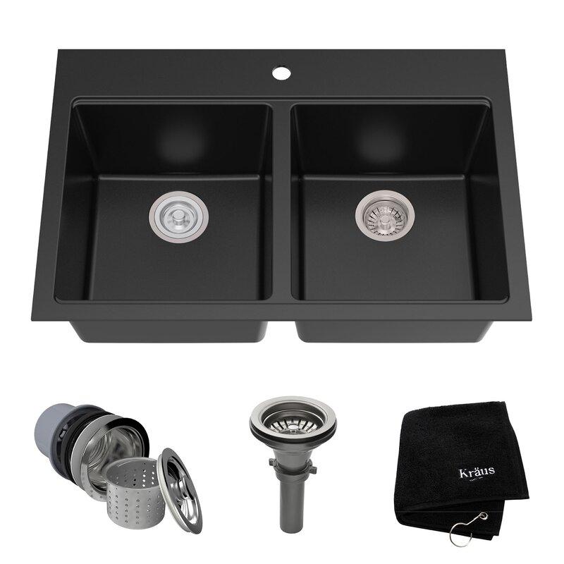 granite 33   x 22   double basin undermount kitchen sink granite 33   x 22   double basin undermount kitchen sink  u0026 reviews      rh   allmodern com