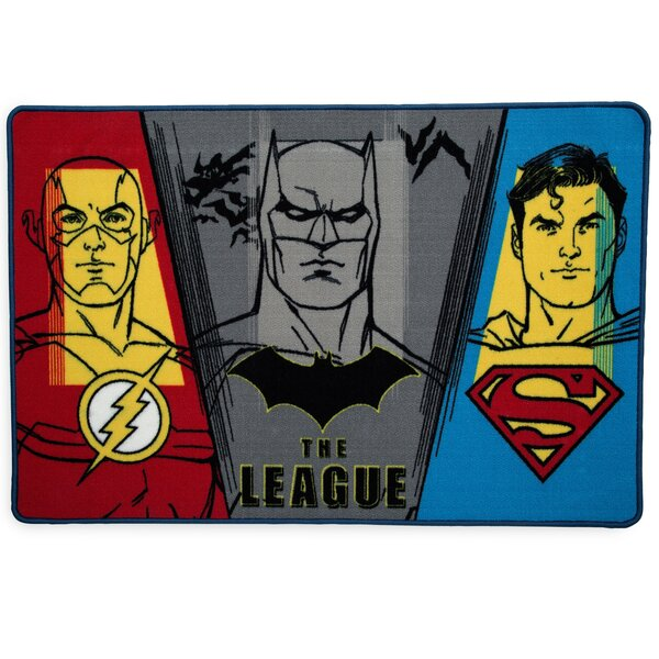 Comics Justice League Red/Blue Area Rug by Delta Children