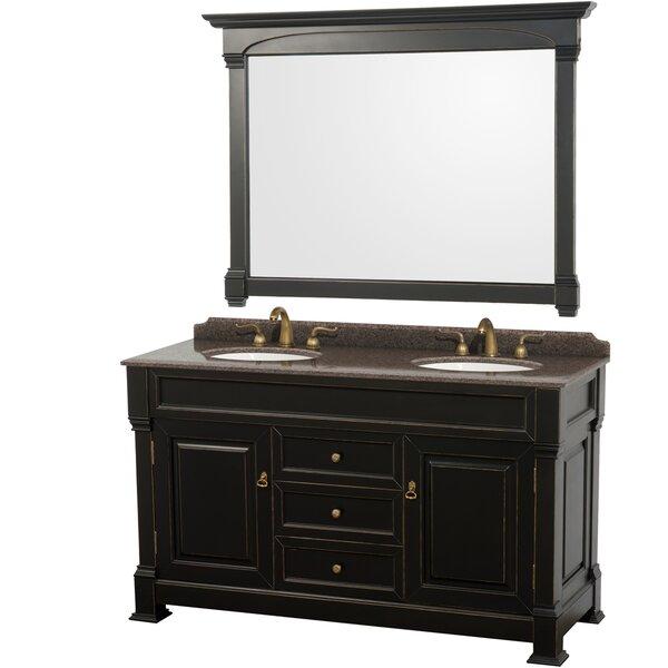 Andover 60 Double Black Bathroom Vanity Set with Mirror by Wyndham Collection