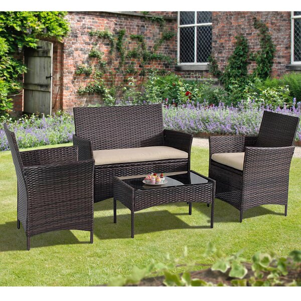 Ackman 4 Piece Rattan Sofa Seating Group with Cushions by Winston Porter