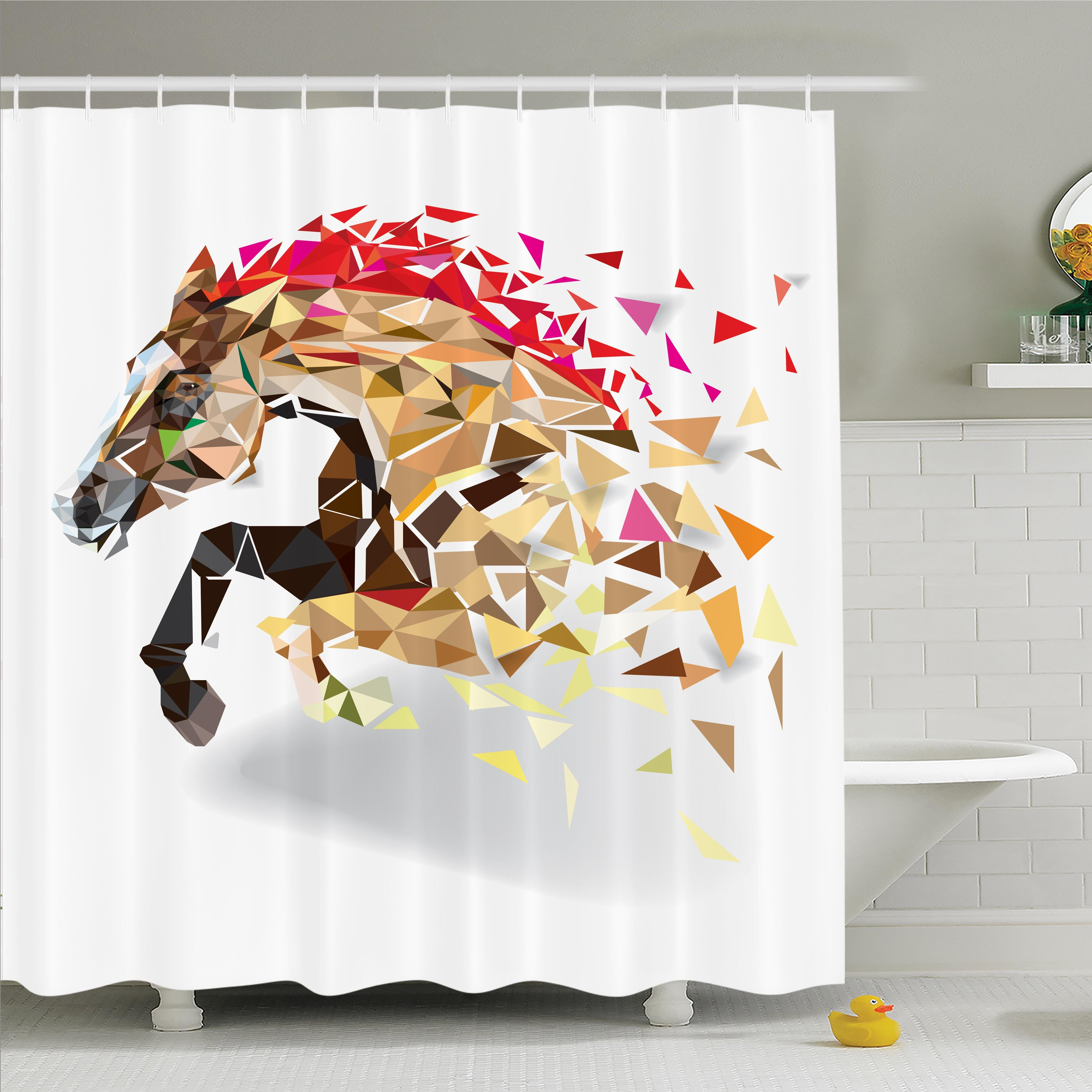 Ambesonne Horse Abstract Art Wild Animal Shower Curtain Set