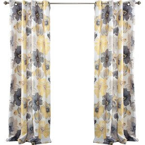 Knox Rom Darkening Nature/Floral Room Darkening Thermal Grommet Curtain Panels (Set of 2)