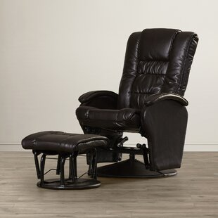 Nadine Leather Glider Recliner with Ottoman Symple Stuff