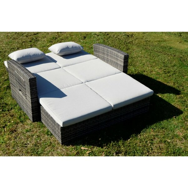Salamone Outdoor Double Chaise Lounge with Cushion and Table by Canora Grey