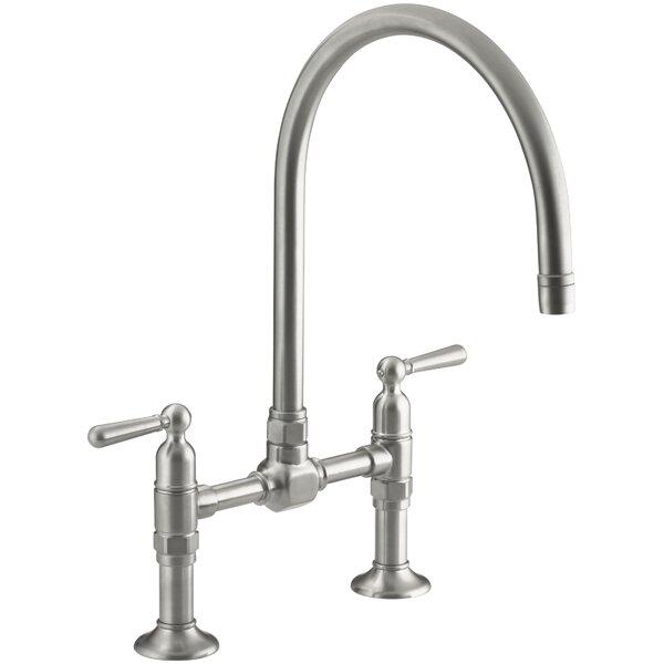 Hirisetwo-Hole Deck-Mount Bridge Kitchen Sink Faucet with 10-1/4 Gooseneck Spout and Lever Handles by Kohler