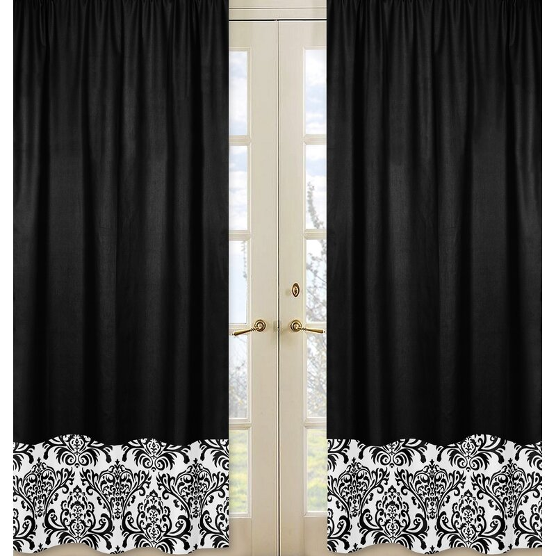 sweet jojo designs isabella damask semi sheer rod pocket. Black Bedroom Furniture Sets. Home Design Ideas
