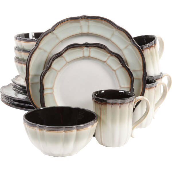 Mableton 16 Piece Dinnerware Set, Service for 4 by Gibson