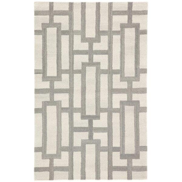 Knepp Geometric Hand-Tufted Wool Cream/Gray Area Rug by Mercer41
