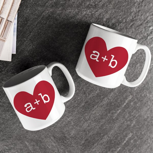 Personalized 20 oz. Heart of Love Coffee Mug (Set of 2) by Cathys Concepts