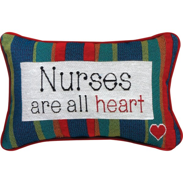 Nurses... All Heart Word Lumbar Pillow by Manual Woodworkers & Weavers