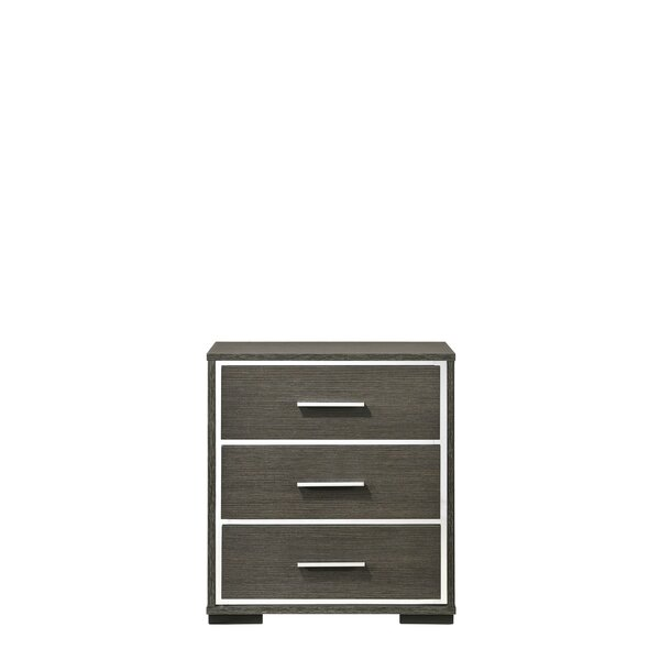 Amme 3 - Drawer Nightstand In Gray Oak By Latitude Run