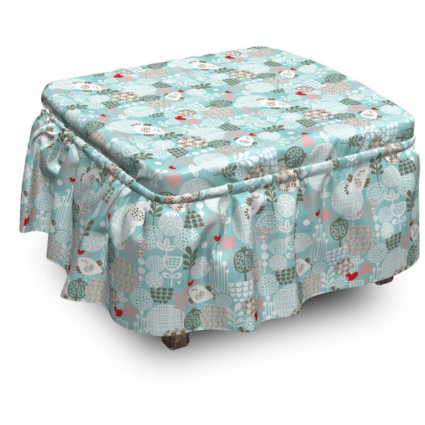 Floral Valentines Birds 2 Piece Box Cushion Ottoman Slipcover Set By East Urban Home