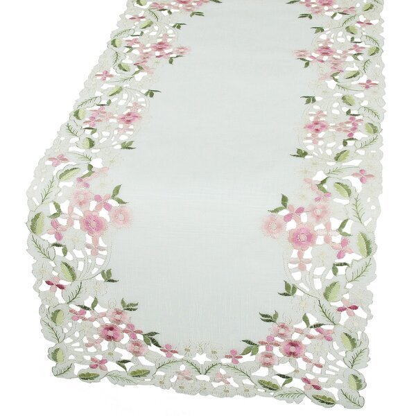 Fairy Garden Sheer Embroidered Cutwork Mini Spring Table Runner by Xia Home Fashions
