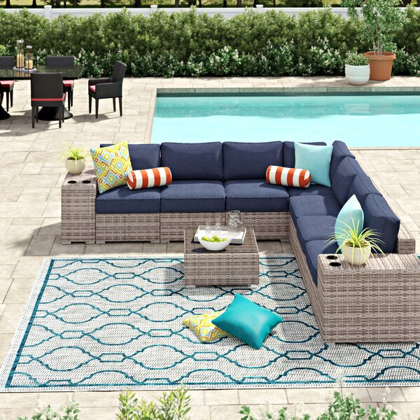 Lazaro 10 Piece Rattan Sunbrella Sectional Seating Group with Sunbrella Cushions by Sol 72 Outdoor