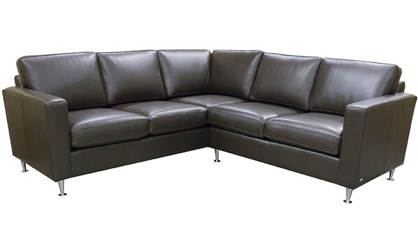 Mei Symmetrical Leather Sectional by 17 Stories