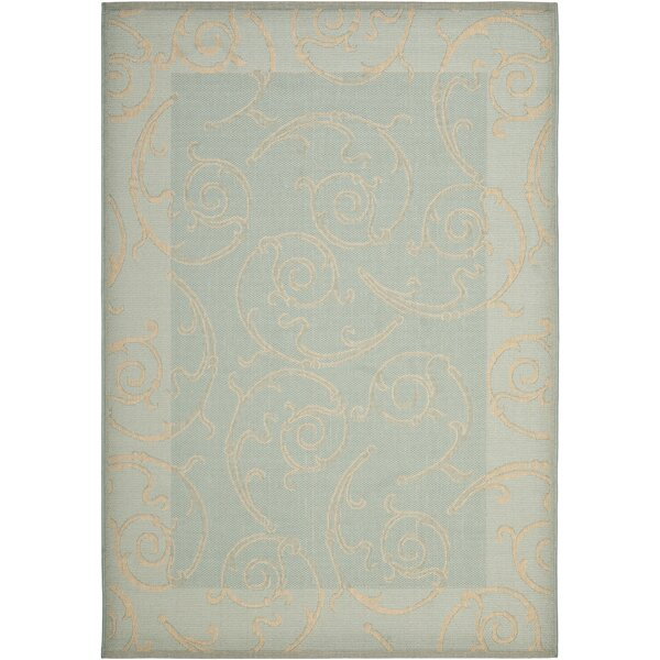Herefordshire Aqua/Cream Indoor/Outdoor Area Rug by Winston Porter