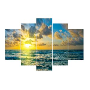 'Sunset on the Atlantic' Photographic Print Multi-Piece Image on Wrapped Canvas by East Urban Home