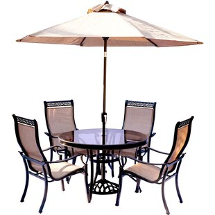 Bucci 5 Piece Dining Set with Table Umbrella and Base By Fleur De Lis Living