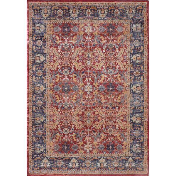 Oglethorpe Blue/Red Area Rug by Bungalow Rose