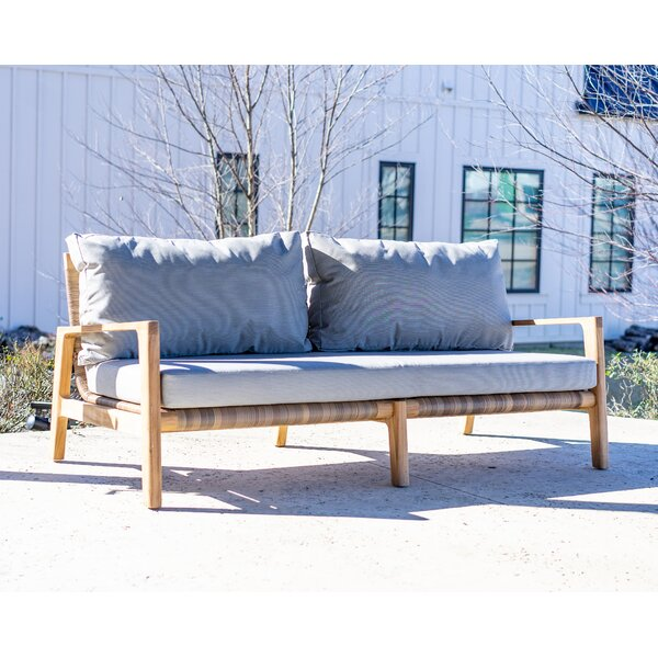 Iyanna Teak Loveseat with Cushions by Bayou Breeze