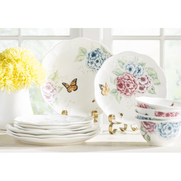 Butterfly Meadow Hydrangea 12 Piece Dinnerware Set, Service for 4 by Lenox