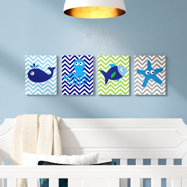 Stella Sea Creatures with Chevron Quad 4 Piece Wall Plaque by Viv + Rae