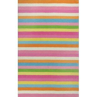 Shari Chic Pink Stripes Area Rug by Viv + Rae