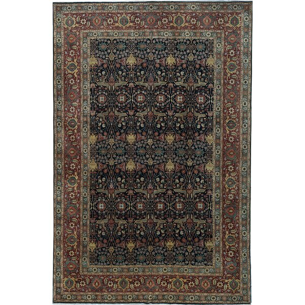 One-of-a-Kind Bakshahesh Hand-Knotted Black 11'9 x 17'10 Wool Area Rug