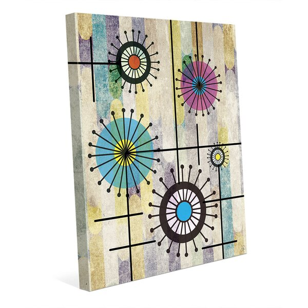 Flower Wires on Violet Graphic Art on Wrapped Canvas by Click Wall Art
