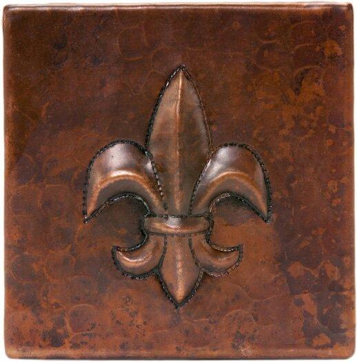 4 X Copper Fleur De Lis Tile In Oil Rubbed Bronze