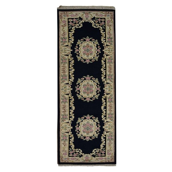 Selma Persian Hand-Woven Wool Navy Area Rug by Alcott Hill