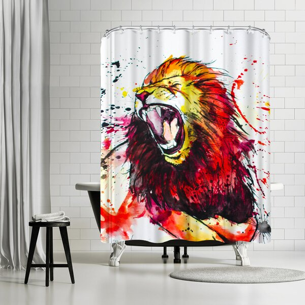 Allison Gray Roaring Lion Shower Curtain by East Urban Home