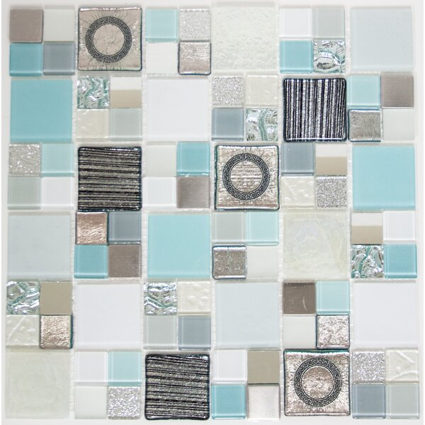 Signature Line 21 x 21 Glass Mosaic Tile in Gray/Blue by Susan Jablon