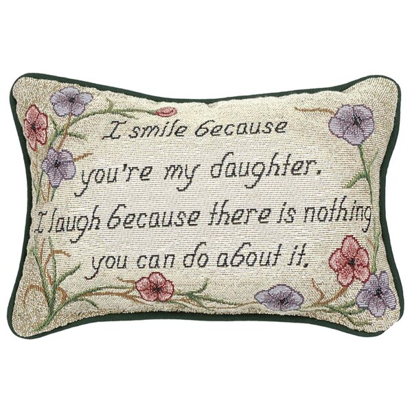 I Smile Because Daughter Word Lumbar Pillow by Manual Woodworkers & Weavers