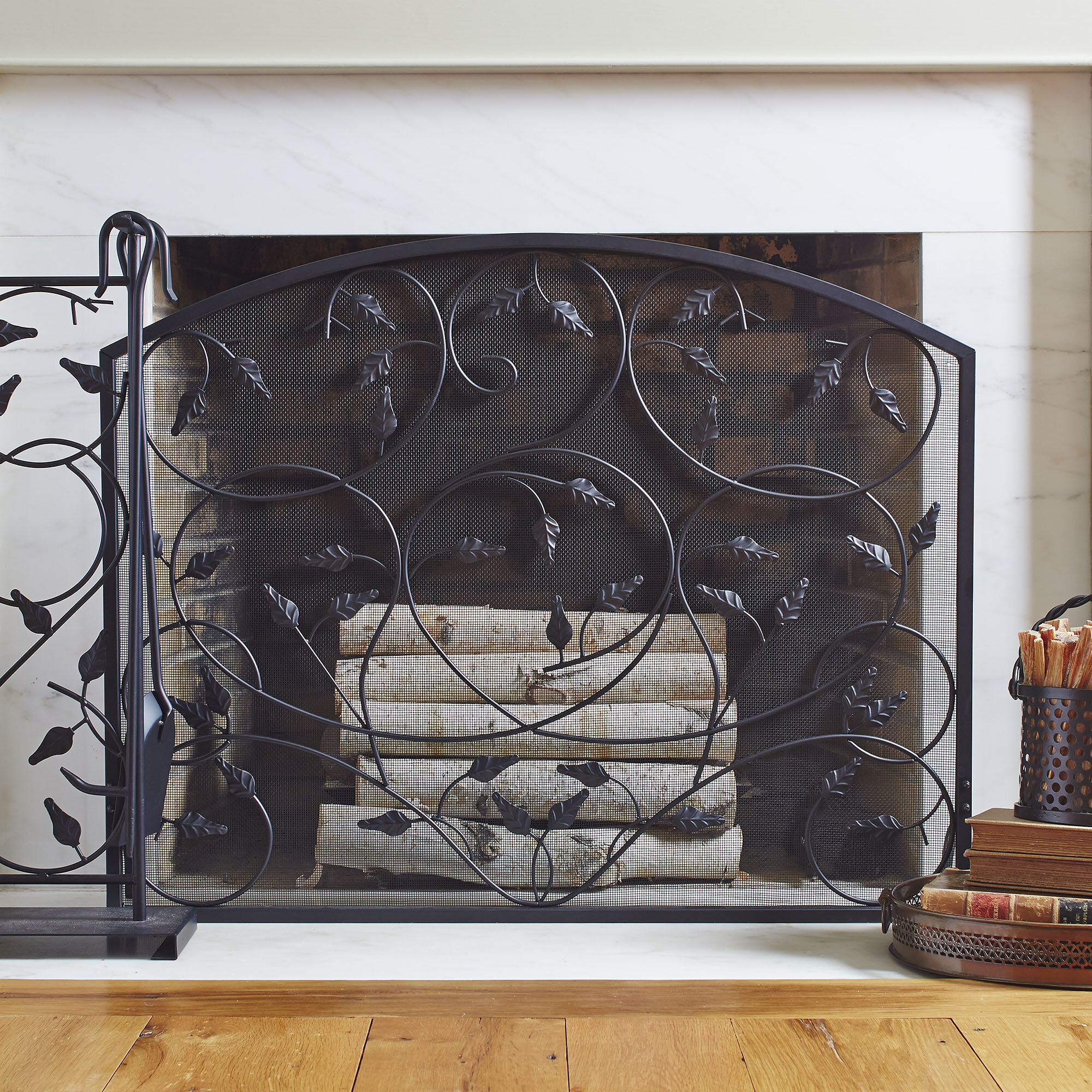 Fleur De Lis Living Pinkie Single Panel Iron Fireplace Screen