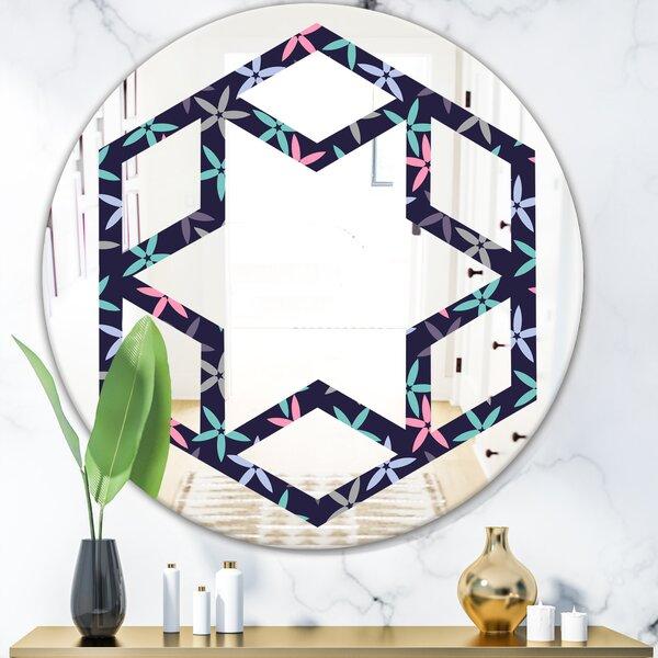 Abstract Flower Design V Star Cottage Americana Frameless Wall Mirror