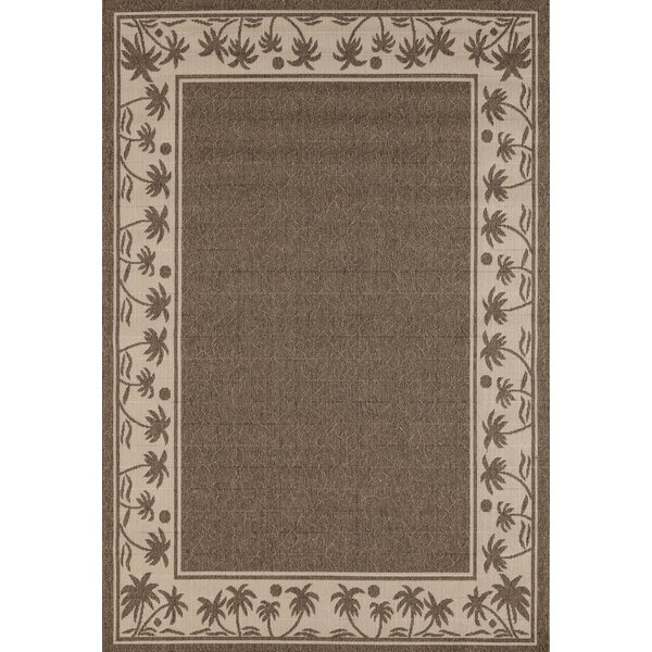 Springcreek Beautiful Tropical Palms Brown Indoor/Outdoor Area Rug